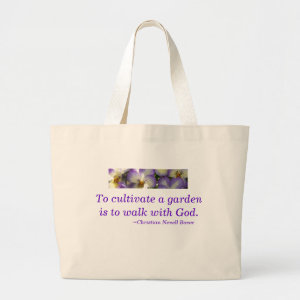 Tote Bag-spiritual garden quote/purple pansies bag