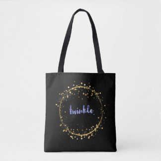 "Tote Bag - Violet ""Twinkle"" inside a Stars Circle"
