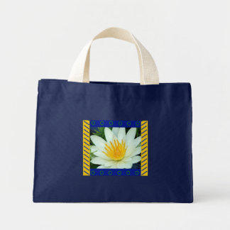 Tote Bag :: White Water Lily with artistic border