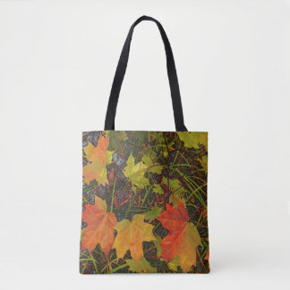TOTE BAG WITH FALL THEME/ LEAVES ON GROUND