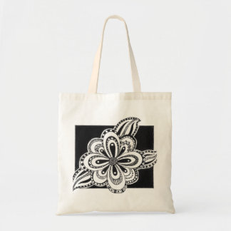 Tote bag with flower drawing