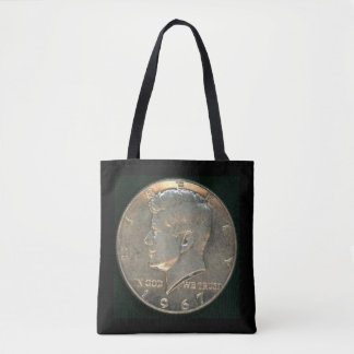 Tote Bag with Kennedy Half Dollar 1967 Silver Coin