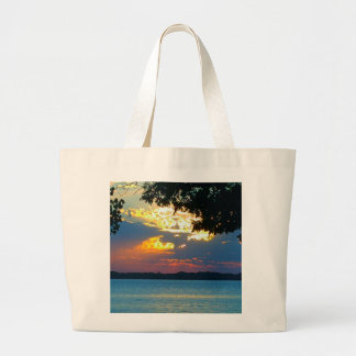 """Tote bag with print """"Sunset Ablaze""""."""