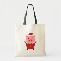 Tote Bag with Smily Little Christmas Pig