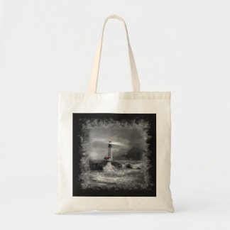 """Tote bag """"Yaquina lighthouse in black and white"""""""