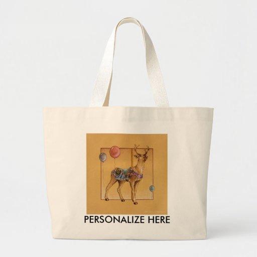 Tote Bags - Carousel Reindeer or Elk