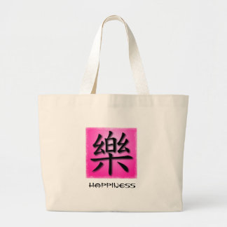 Tote Bags Chinese Symbol For Happiness On Pink NAT