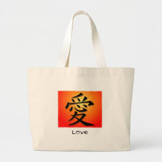 Tote Bags Chinese Symbol For Love On Sunset