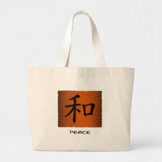 Tote Bags Chinese Symbol For Peace On Fire
