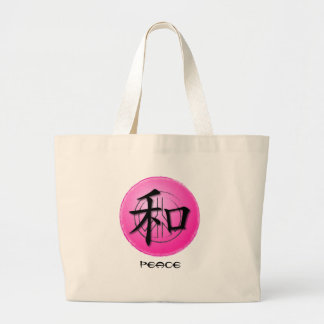 Tote Bags Chinese Symbol For Peace On Pink Peace