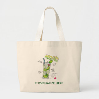 TOTE BAGS - MOJITO RECIPE COCKTAIL ART
