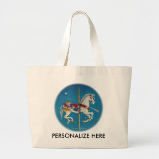 Tote Bags - Red, White & Blue Carousel Horse