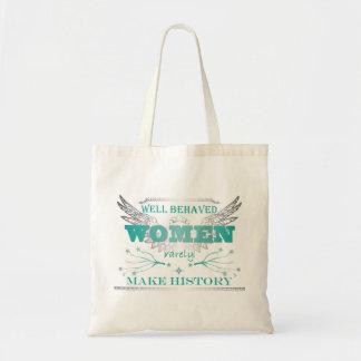 Tote bien comportado de las mujeres - turquesa bolsas lienzo