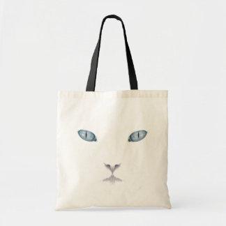 Tote blanco de la cara del gato bolsa de mano