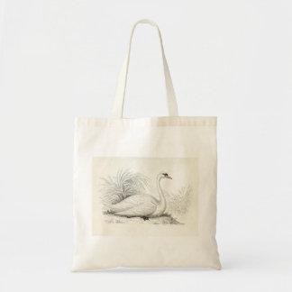 Tote blanco hermoso del cisne bolsa tela barata