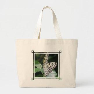 Tote blanco y negro de la lona de la mariposa bolsas lienzo
