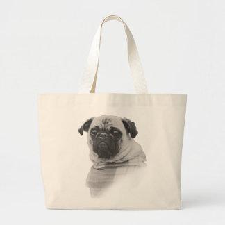 Tote blanco y negro del perro del barro amasado bolsa tela grande