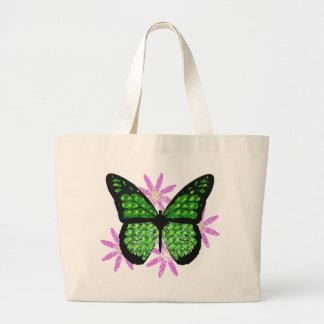 Tote bonito de la mariposa bolsa tela grande