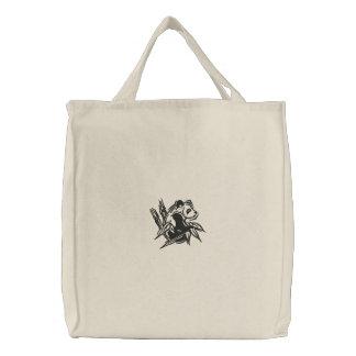 Tote bordado panda estilizada bolsas de mano bordadas