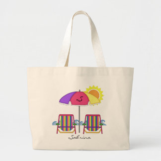 Tote brillante de la playa de Sunbrella Bolsa De Tela Grande
