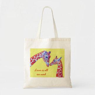 tote cariñoso de las jirafas bolsas