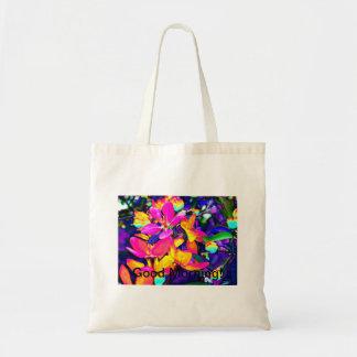 Tote colorido brillante del flor de la manzana bolsa tela barata