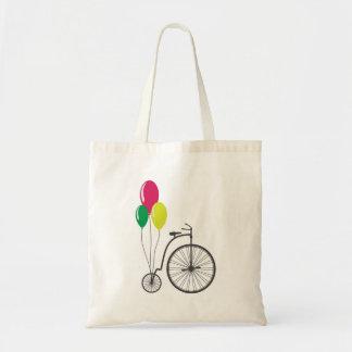tote con la bicicleta retra con los globos bolsa tela barata