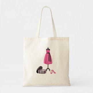 Tote con la pintura de un vestido rosado, de una c bolsa tela barata