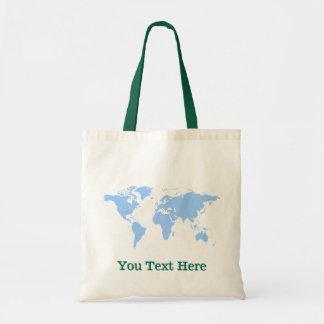 Tote conocido de encargo de la geografía del globo bolsa tela barata