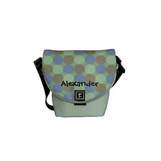 Tote conocido personalizado azul y verde grande de bolsas de mensajería