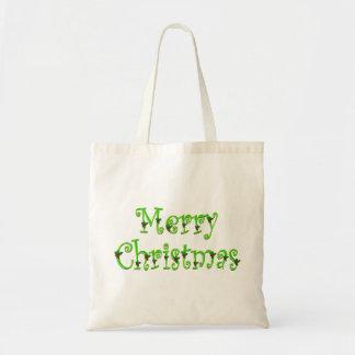 Tote cubierto de las Felices Navidad del acebo Bolsa Tela Barata