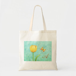 Tote Custom Bag Cotton Yellow Tulip and Butterfly