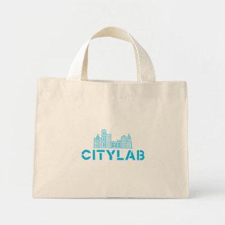 Tote de CityLab con diseño azul del horizonte Bolsa Tela Pequeña