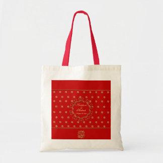 Tote de encargo inspirado indio del diseño en rojo bolsa tela barata