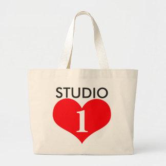 Tote de gran tamaño del amor del estudio 1 bolsa tela grande