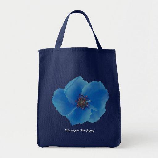 Tote de la amapola azul bolsas lienzo