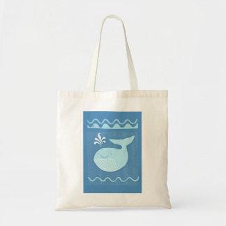 Tote de la ballena azul bolsa tela barata