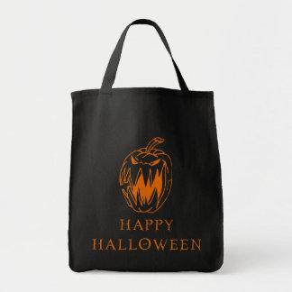 Tote de la calabaza del feliz Halloween Bolsa Tela Para La Compra