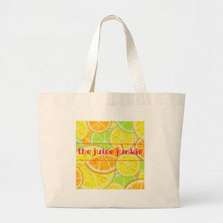 Tote de la fruta cítrica bolsa tela grande