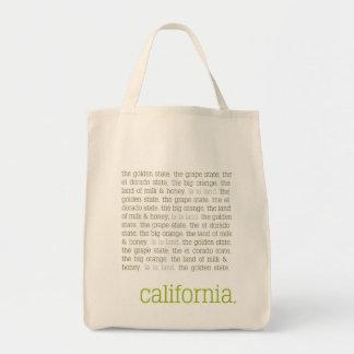 Tote de la lona de California Bolsa Tela Para La Compra