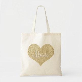 Tote de la novia del brillo del oro bolsa tela barata
