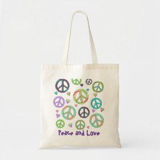 Tote de la paz y del amor bolsa lienzo