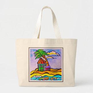 Tote de la playa de las casas de Barbados Bolsa Tela Grande