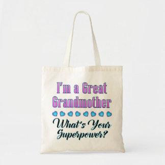 Tote de la superpotencia de la bisabuela bolsa tela barata