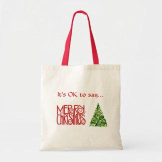 """Tote """"de las Felices Navidad"""" con diseño del árbol Bolsas"""