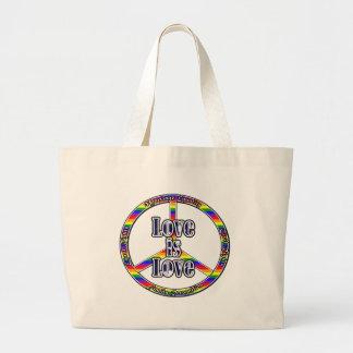 Tote de los derechos de los homosexuales de la paz bolsa tela grande