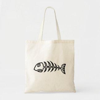 Tote de los pescados del hueso bolsa tela barata