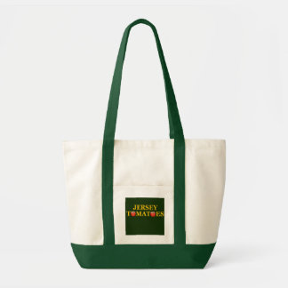 Tote de los tomates verde clásico y blanco del jer bolsa tela impulso