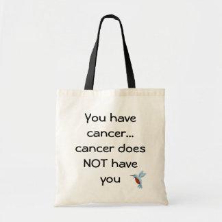Tote de motivación del cáncer con el colibrí bolsa tela barata