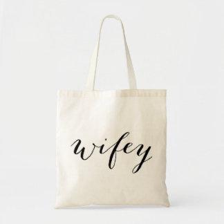 Tote de Wifey para la luna de miel o el boda de la Bolsa Tela Barata